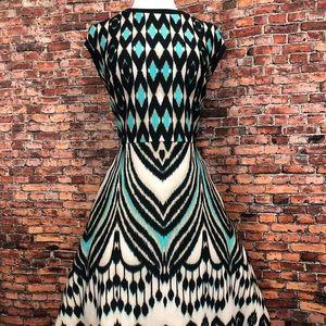 Just Taylor Teal Beige Black Aline Party Dress